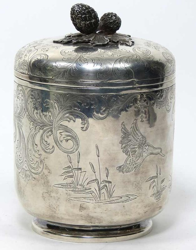 Tiffany Sterling Silver Footed Lidded Jar.