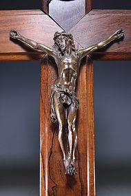 19th C. French Bronze Crucifix.