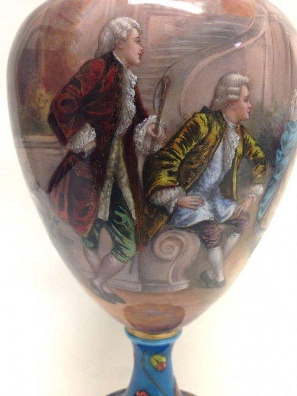 Large and Fine French Enamel Vase, circa 1880.