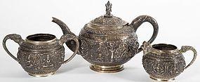 Fine Thai Silver 3-Piece Tea Set.