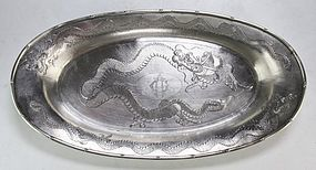 19th C. Fine Chinese Export Silver Platter.