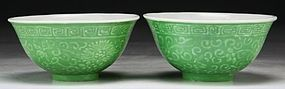 Pair Chinese Antique Green Glazed Porcelain Bowls.