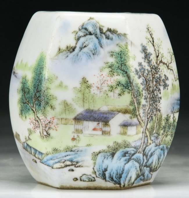 Chinese Famille Rose Porcelain Stool Shaped Stand.