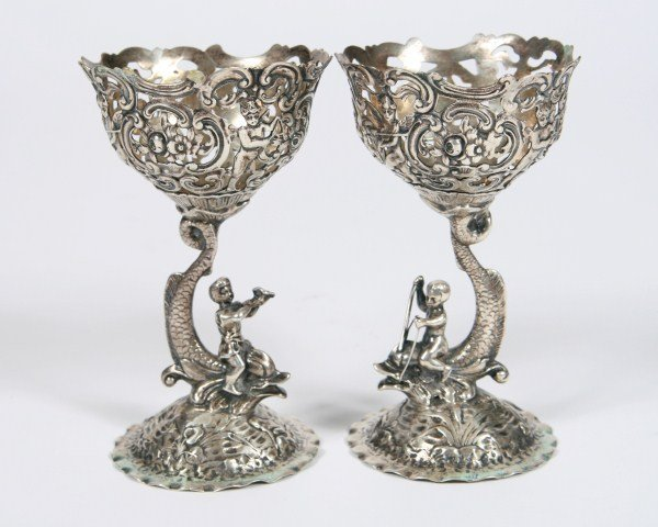 Pair of Continental Silver Pierced Goblets.