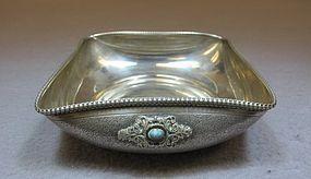Antique 800 Silver & Turquoise European Tray.