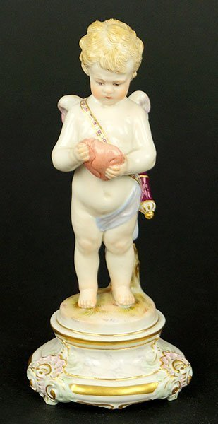 Meissen Porcelain Figure Of Cupid.