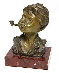 Superb 19th C. European Bronze Bust; Boy & Pipe.