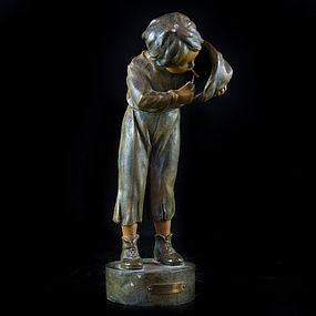 "Antique Bronze/Spelter ""A Beginner"" Sculpture."