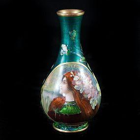 Fine French Limoges Enamel Vase.