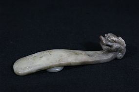 19th C. Chinese Gray Hetian Jade Belt Buckle.