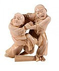 Impressive Japanese Ivory Okimono Figures; Two Blind Men.