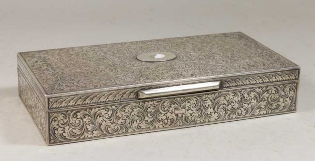 Superb Etched 800 Silver Box with Scroll Design.