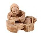 Japanese Ivory Okimono Figure; Laborer. Meiji Pd.