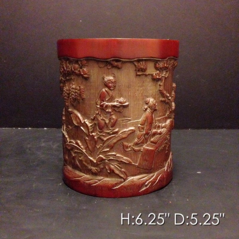 Fine Chinese Carved Bamboo Brush Pot.