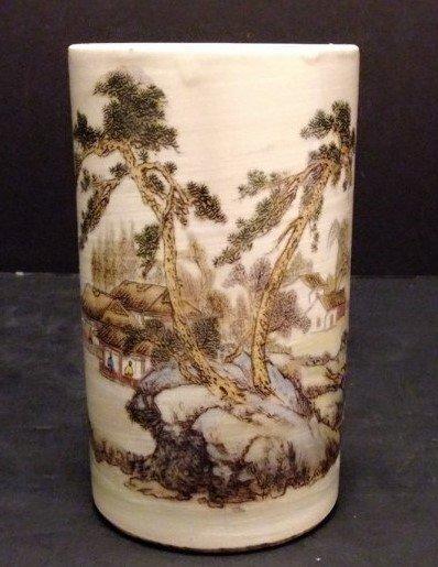 Fine Chinese Enameled Porcelain Brush Pot.