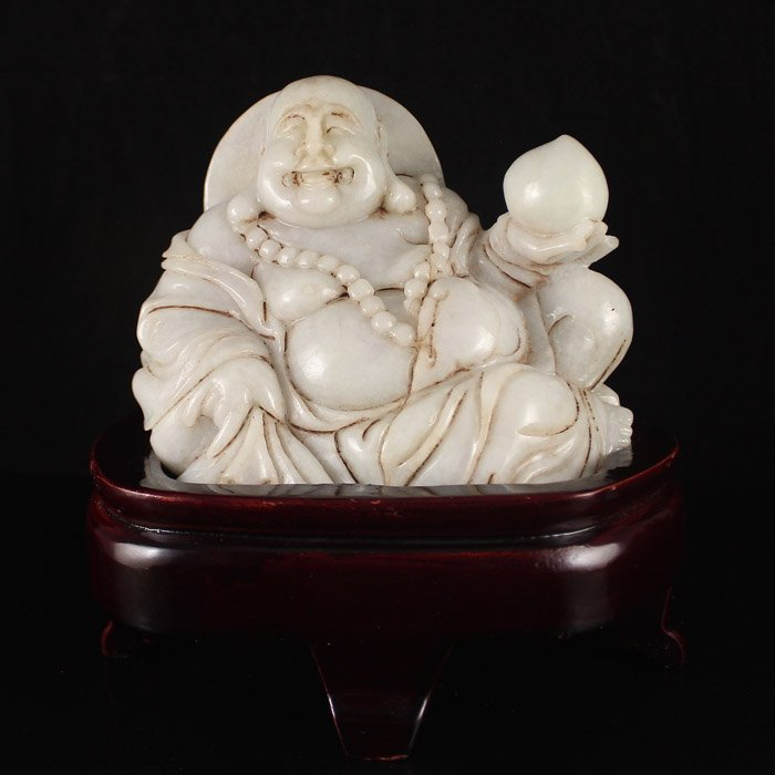 Antique Chinese Natural Jadeite Statue; Laughing Buddha.