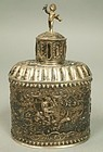 Dutch 830 Silver Lidded Spice Container