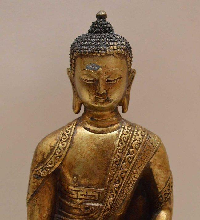 Antique Sino-Tibetan Gilded Cast Figure of Buddha.