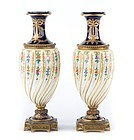 19th C. Pair of Sevres Enameled Porcelain Urns