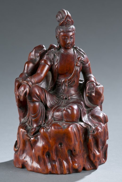 Chinese Carved Boxwood Figure; Guanyin.