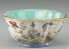 19th C. Chinese Enameled Porcelain Lobed Bowl.