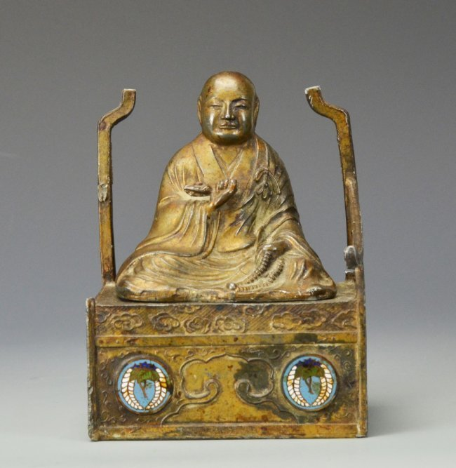 19th C. Chinese Bronze Buddha Inkwell.