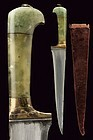 19th C. Indian Mughal Jade Handle Dagger