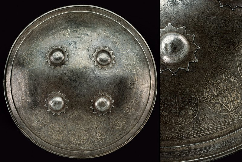 Supperb Mid 19th C. Ottoman Silver Decorated Shield (sipar)