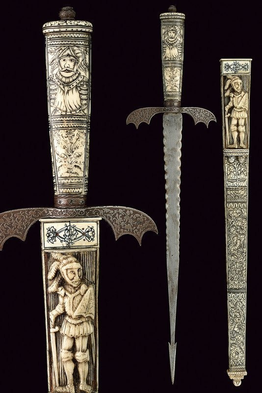 Exceptional 17th C. Rare German Engraved Dagger
