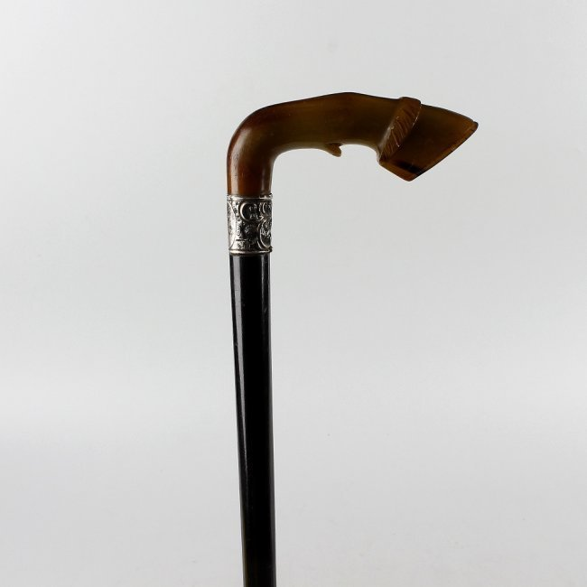 Late Victorian Silver-Mounted Horn-Handled Cane.