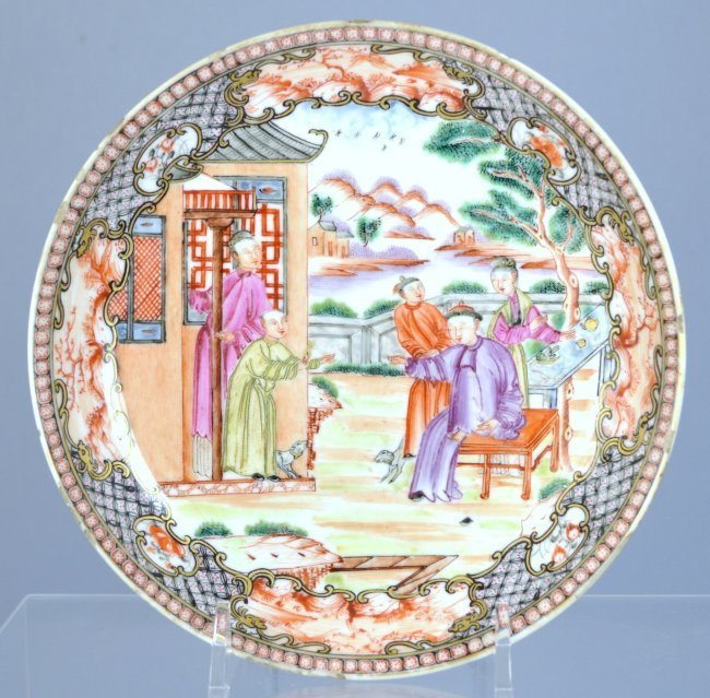 18th C. Cinese Mandarin Enameled Porcelain Plate.