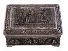 Superb 19th C. Burmese Repousse Silver Box.