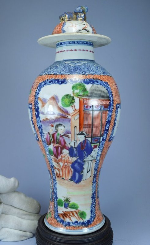 18th C. Chinese Mandarin Enameled Porcelain Lidded Jar