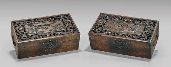 TWO CHINESE CARVED OPENWORK HARDWOOD BOXES