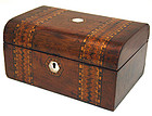 Antique Tunbridgeware inlaid box, sewing, work, jewelry