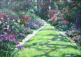 Albert Sharp painting - English Garden landscape
