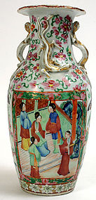 Chinese Export Rose Medallion baluster vase, 19th C.