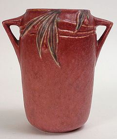 Roseville Velmoss II rose vase, Deco art pottery