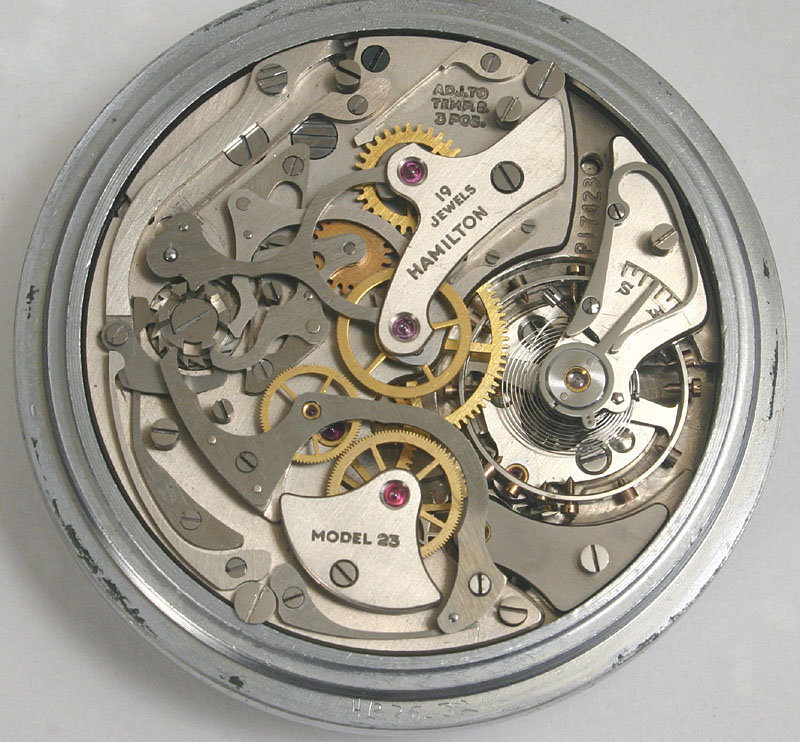 Hamilton Model 23 Navigator's chronograph watch in case