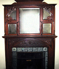 Victorian Fireplace Mantel Mantelpiece Oak Antique Item