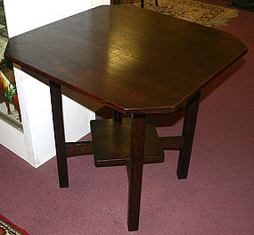 L & JG Stickley square oak lamp table, Arts and Crafts
