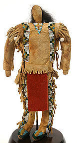 Antique Native American folk art male doll, N. Plains