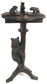 Black Forest carved bears smoking stand, Germany