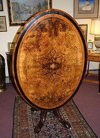 English tilt top Loo table, burl walnut, Victorian