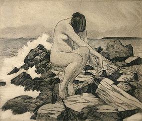 Israel Doskow original etching print, Nude