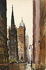Ted Kautzky watercolor painting of Broadway, New York