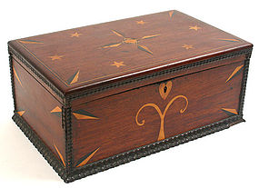 American folk art inlaid document box