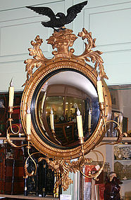 Federal style gilt girandole mirror with convex glass