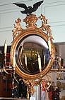 Federal style gilt girandole mirror with convex glass
