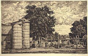 Luigi Lucioni Two Silos original etching, signed